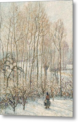 Morning Sunlight On The Snow Eragny Sur Epte Metal Print by Camille Pissarro