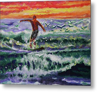 Morning Surf With Birds Metal Print