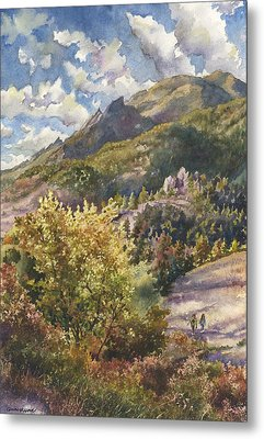 Metal Print featuring the painting Morning Walk At Mount Sanitas by Anne Gifford