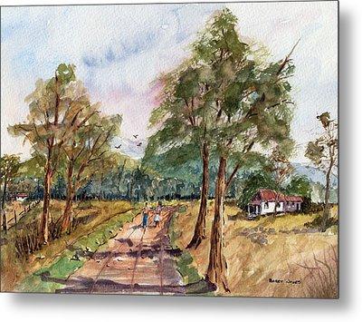Morning Walk - Watercolor Metal Print