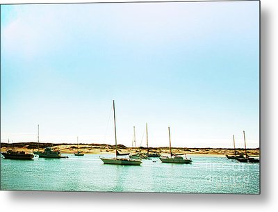 Moro Bay Inlet With Sailboats Mooring In Summer Metal Print