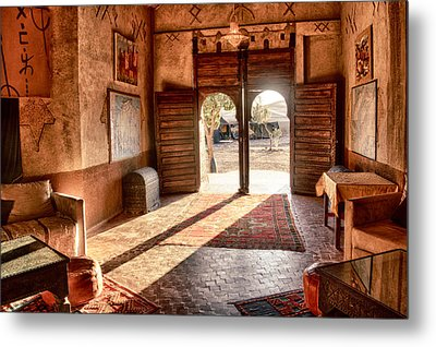Metal Print featuring the tapestry - textile Moroccan Kasbah by Kathy Adams Clark
