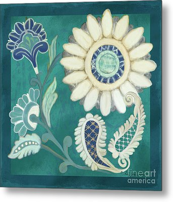 Metal Print featuring the painting Moroccan Paisley Peacock Blue 2 by Audrey Jeanne Roberts