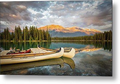 Jasper Lake Canoes Metal Print