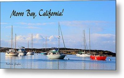 Morro Bay Harbor Big Red Boat Metal Print by Barbara Snyder