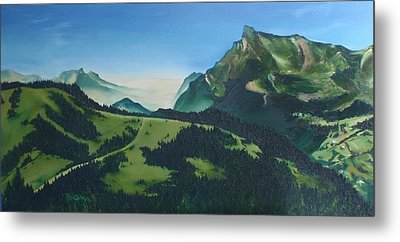 Metal Print featuring the painting Morzine by Mira Cooke