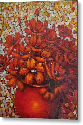 Mosaic Flowers Metal Print
