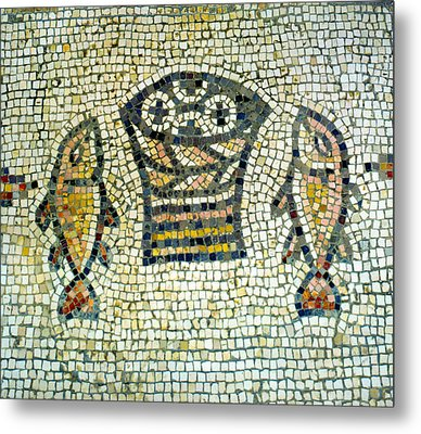 Mosaic Of Loaves And Fishes Metal Print by Daniel Blatt
