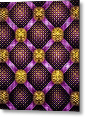 Mosaic - Purple And Yellow Metal Print