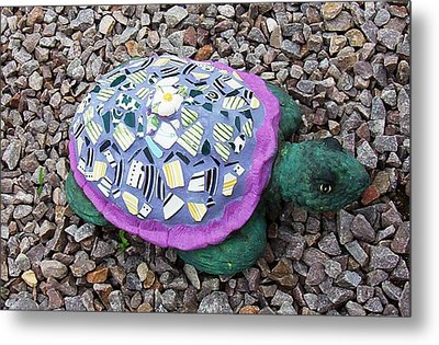 Metal Print featuring the ceramic art Mosaic Turtle by Jamie Frier