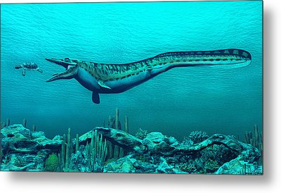 Mosasaurs Metal Print by Walter Colvin