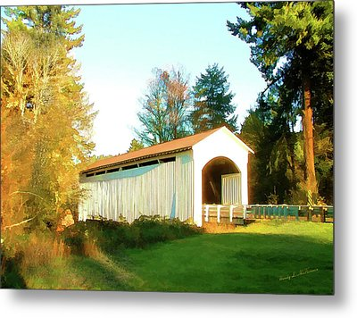 Mosby Creek Covered Bridge Metal Print by Wendy McKennon
