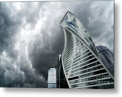 Moscow City And Storm Metal Print
