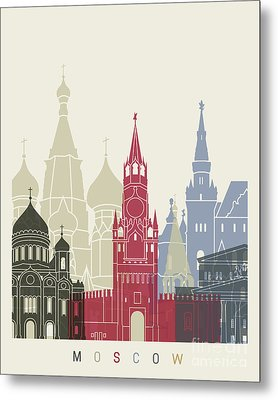 Moscow Skyline Poster Metal Print by Pablo Romero