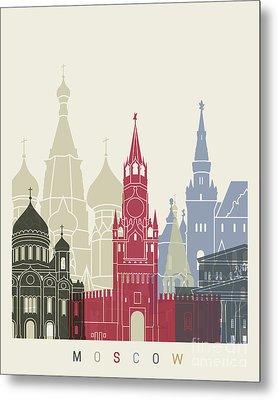 Moscow Skyline Poster Metal Print