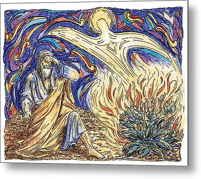 Moses And The Burning Bush Metal Print by Brent Kastler