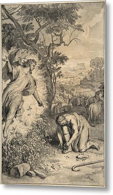 Moses And The Burning Bush Metal Print by Gerard Hoet