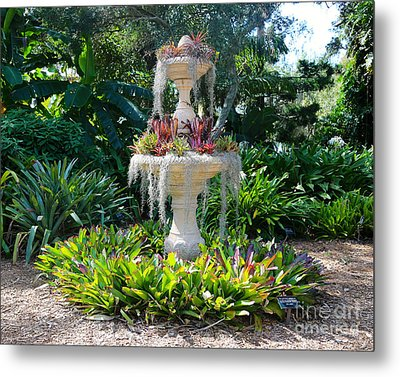 Mossy Fountain With Bromeliads Metal Print by Carol Groenen