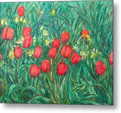 Metal Print featuring the painting Mostly Tulips by Kendall Kessler