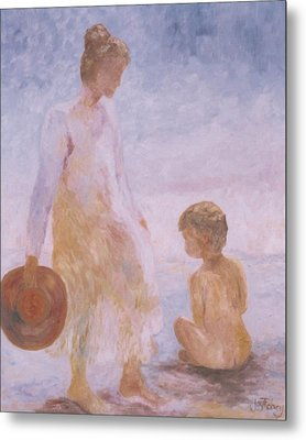 Mother And Baby On The Beach Metal Print