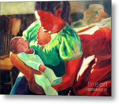 Metal Print featuring the painting Mother And Child In Red2 by Kathy Braud