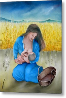 Mother And Child Metal Print by Miriam Besa