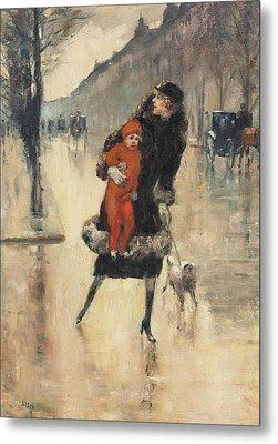 Mother And Child On A Street Crossing Metal Print