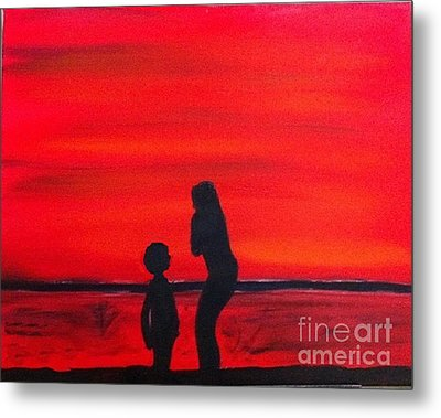 Metal Print featuring the painting Mother And Child by Rod Jellison