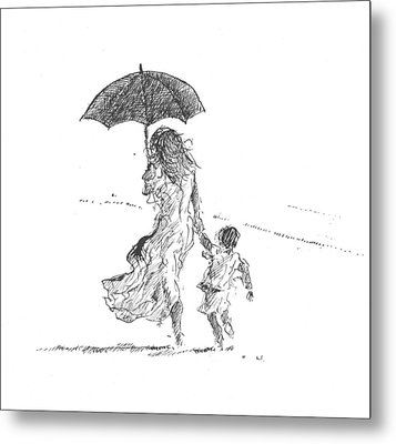 Mother And Child  Sri Lanka Metal Print by Lincoln Seligman