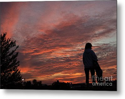 Mother And Child Sunset Metal Print by Tom Gari Gallery-Three-Photography