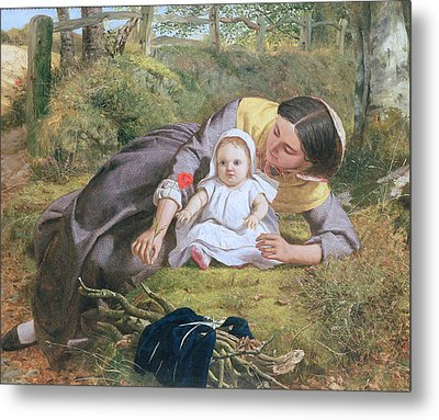 Mother And Child With A Poppy Metal Print by Frederick Richard Pickersgil