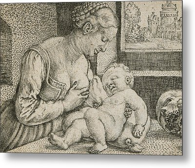 Mother And Child With Skull And Hourglass Metal Print by Barthel Beham
