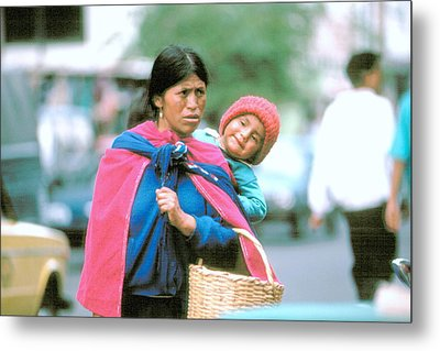 Metal Print featuring the photograph Mother And Daughter Ecuador by Douglas Pike