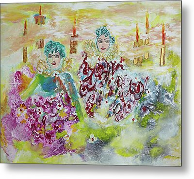 Metal Print featuring the painting Mother And Daughter In Peace by Sima Amid Wewetzer