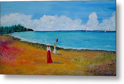 Metal Print featuring the painting Mother And Daughter by Marilyn  McNish