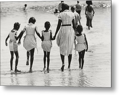 Mother And Four Daughters Entering Water At Coney Island Metal Print
