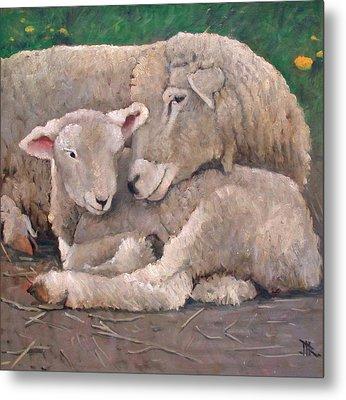 Mother And Lamb Metal Print