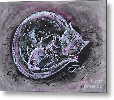 Metal Print featuring the painting Mother Cat With Kittens by Zaira Dzhaubaeva