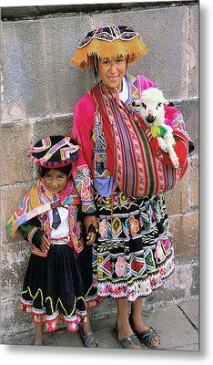Mother Child  And Lamb Cuzco Metal Print by Alan Lenk