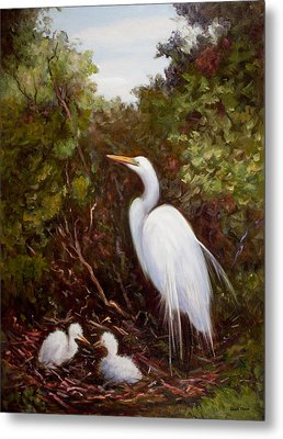 Mother Egret And Nestlings Metal Print