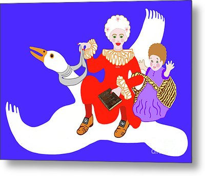 Mother Goose On Her Flying Goose Metal Print by Marian Cates