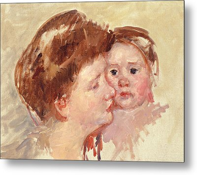 Mother In Profile With Baby Cheek To Cheek Metal Print by Mary Stevenson Cassatt
