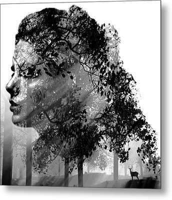 Mother Nature Black And White Metal Print