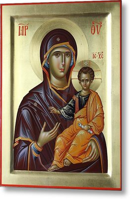 Mother Of God Hodighitria Metal Print by Daniel Neculae