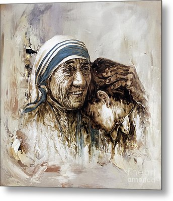 Metal Print featuring the painting Mother Teresa  by Gull G