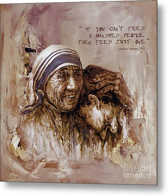 Metal Print featuring the painting Mother Teresa Of Calcutta  by Gull G
