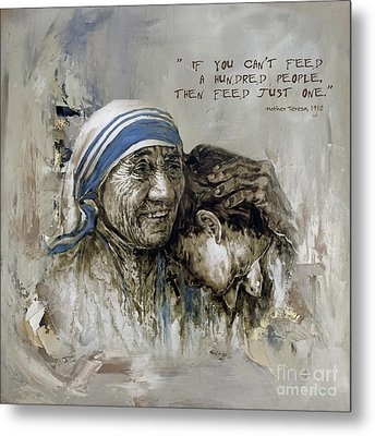 Metal Print featuring the painting Mother Teresa Portrait  by Gull G