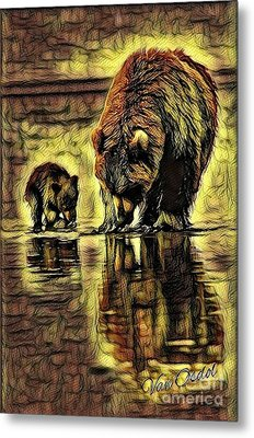 Mother With Young Cub - Autumns Arrival Abstract  Metal Print