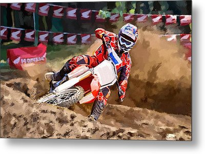 Metal Print featuring the painting Moto-x by Robert Smith