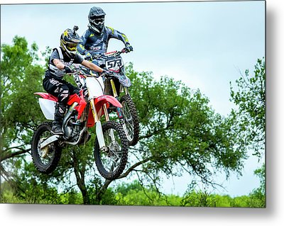 Metal Print featuring the photograph Motocross Battle by David Morefield